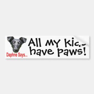 My kids have paws car bumper sticker