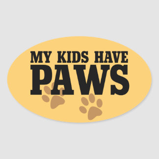 My kids have paws oval sticker