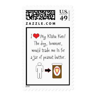 My Kishu Ken Loves Peanut Butter Postage Stamp