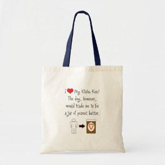 My Kishu Ken Loves Peanut Butter Tote Bags
