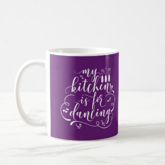 My Kitchen Is For Dancing White Purple Chef Gift Coffee Mug