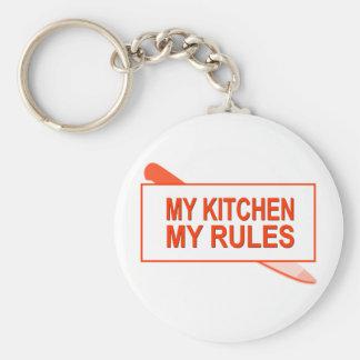My Kitchen. My Rules. Fun Design for Kitchen Boss Basic Round Button Keychain