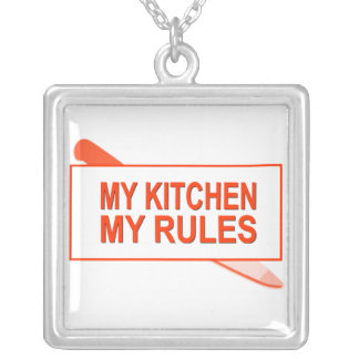 My Kitchen. My Rules. Fun Design for Kitchen Boss Square Pendant Necklace