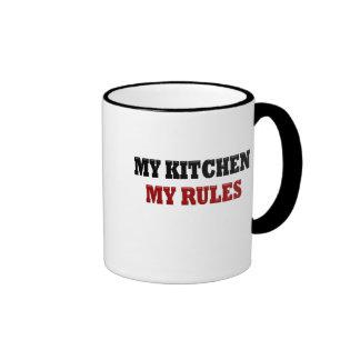 My kitchen My Rules Ringer Mug