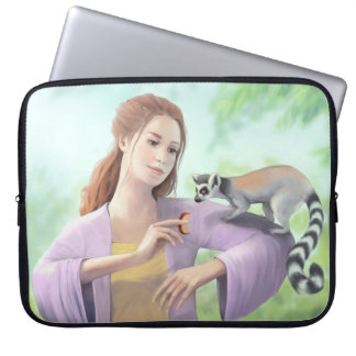 My Lemur Friends - Girl with Lemur Catta Painting Laptop Sleeves