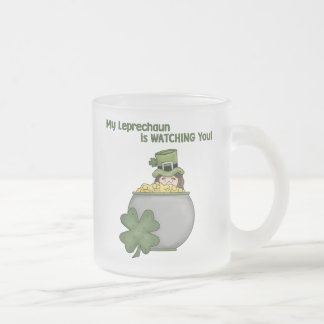 My Leprechaun Is Watching You - Frosted Glass Mug