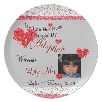 My Life Changed by Adoption Custom PHOTO Plate