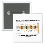 My Life Depends Upon Active Transport (Humor) Button