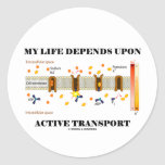 My Life Depends Upon Active Transport (Humor) Stickers
