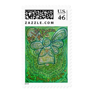 My Life Green Cancer Angel Postage Stamp stamp