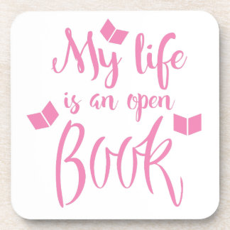 my life is an open book beverage coaster