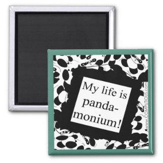 My life is panda-monium 2 inch square magnet