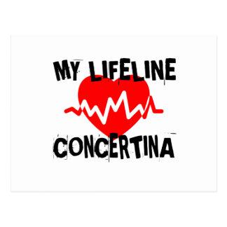 MY LIFE LINE CONCERTINA MUSIC DESIGNS POSTCARD