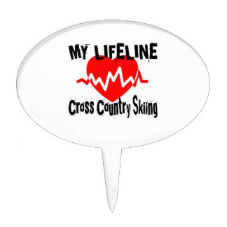 My Life Line Cross Country Skiing Sports Designs Cake Topper