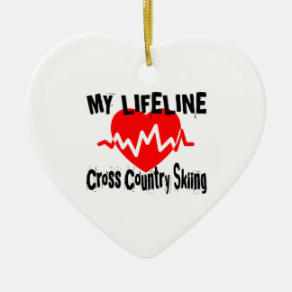 My Life Line Cross Country Skiing Sports Designs Ceramic Ornament