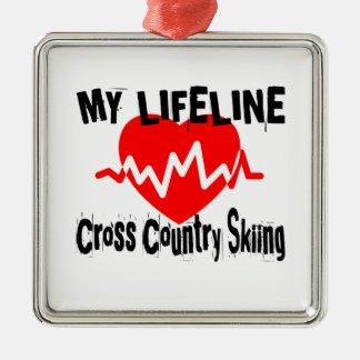 My Life Line Cross Country Skiing Sports Designs Metal Ornament