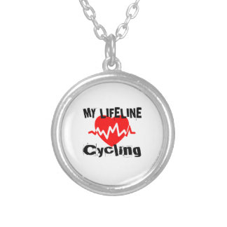 My Life Line Cycling Sports Designs Silver Plated Necklace