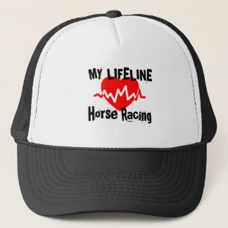 My Life Line Horse Racing Sports Designs Trucker Hat