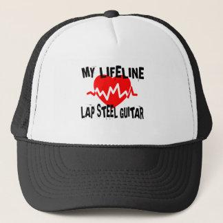 MY LIFE LINE LAP STEEL GUITAR MUSIC DESIGNS TRUCKER HAT