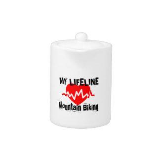 My Life Line Mountain Biking Sports Designs Teapot