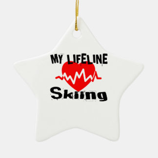 My Life Line Skiing Sports Designs Ceramic Ornament