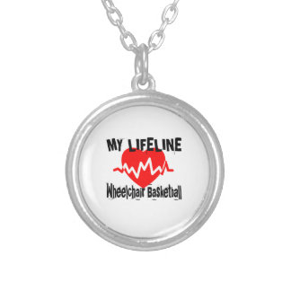 My Life Line Wheelchair Basketball Sports Designs Silver Plated Necklace