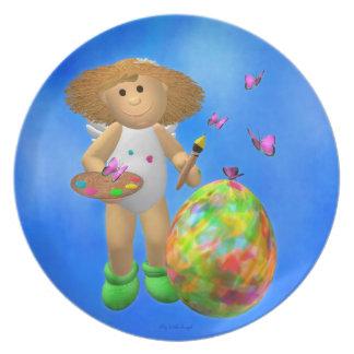 My Little Angel: Colorful Easter Egg Melamine Plate