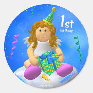 My Little Angel: First Birthday Classic Round Sticker