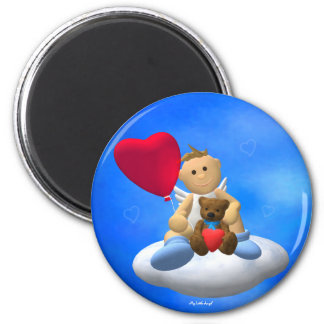 My Little Angel with Balloon & Teddy 2 Inch Round Magnet
