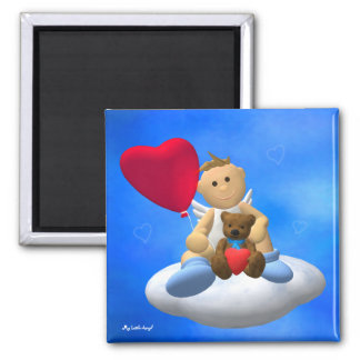 My Little Angel with Balloon & Teddy 2 Inch Square Magnet