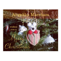 My Little Christmas Teddy Bear Ornament Postcard
