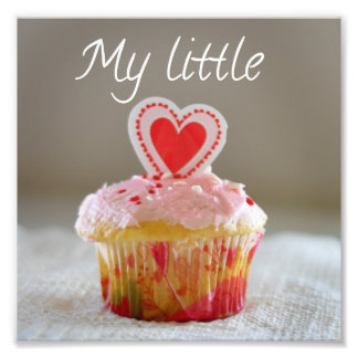 My Little Cupcake Heart Love You Square Print