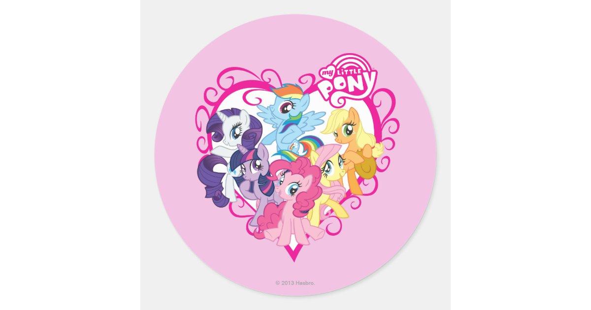 My Little Ponies Heart Classic Round Sticker | Zazzle.com