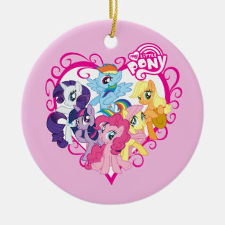 My Little Ponies Heart Double-Sided Ceramic Round Christmas Ornament