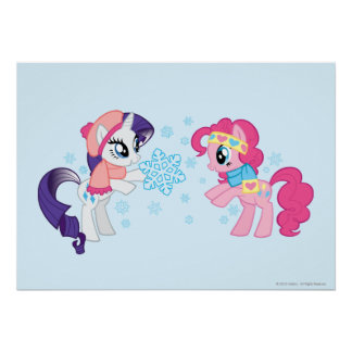 My Little Ponies with Snowflakes Poster