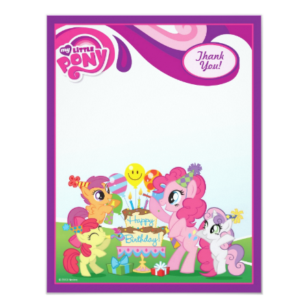 My Little Pony  Birthday Party Thank You Personalized Announcement