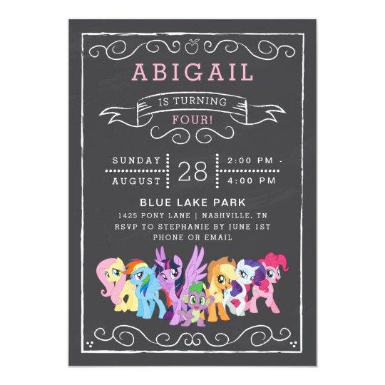 my little pony chalkboard birthday invitation zazzle com