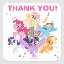 My Little Pony | Hot Pink Birthday Thank You Square Sticker