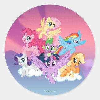 My Little Pony   Mane Six on Clouds Classic Round Sticker