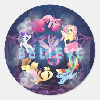 My Little Pony   Mane Six Seaponies - Believe Classic Round Sticker