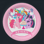 "My Little Pony | Pink Birthday Paper Plate<br><div class=""desc"">Happy Birthday from My Little Pony.  Personalize this Birthday paper plates by adding a name and age.</div>"