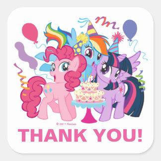 My Little Pony   Pink Birthday Thank You Square Sticker