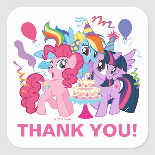 My little pony pink birthday thank you square sticker zazzle my little pony pink birthday thank you square sticker mightylinksfo
