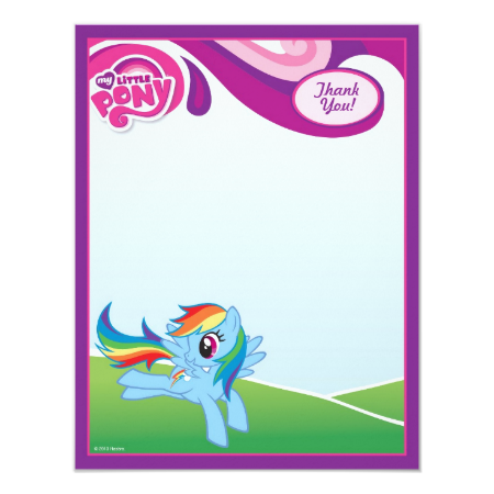 My Little Pony Rainbow Dash Thank You Personalized Announcements