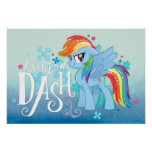 My Little Pony | Rainbow Dash Watercolor Flowers Poster