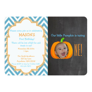 "My Little Pumpkin 1st Birthday Invitation 5"" X 7"" Invitation Card"
