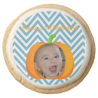 My Little Pumpkin 1st Birthday Sugar Cookies Round Premium Shortbread Cookie