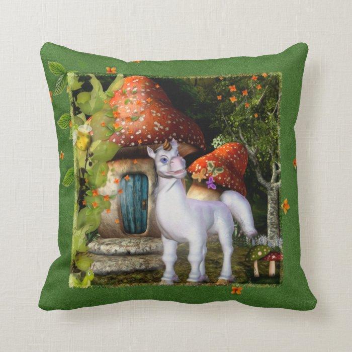My Little Unicorn Garden Throw Pillow