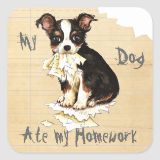 My Long Coat Chihuahua Ate My Homework Square Sticker