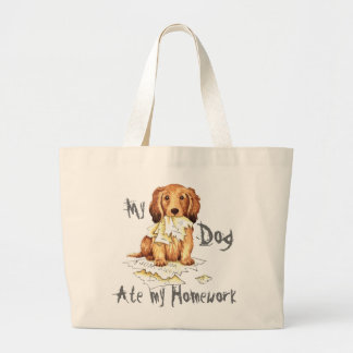 My Longhaired Dachshund Ate my Homework Large Tote Bag